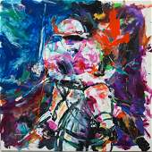 Signed Mixed Media Polo Player