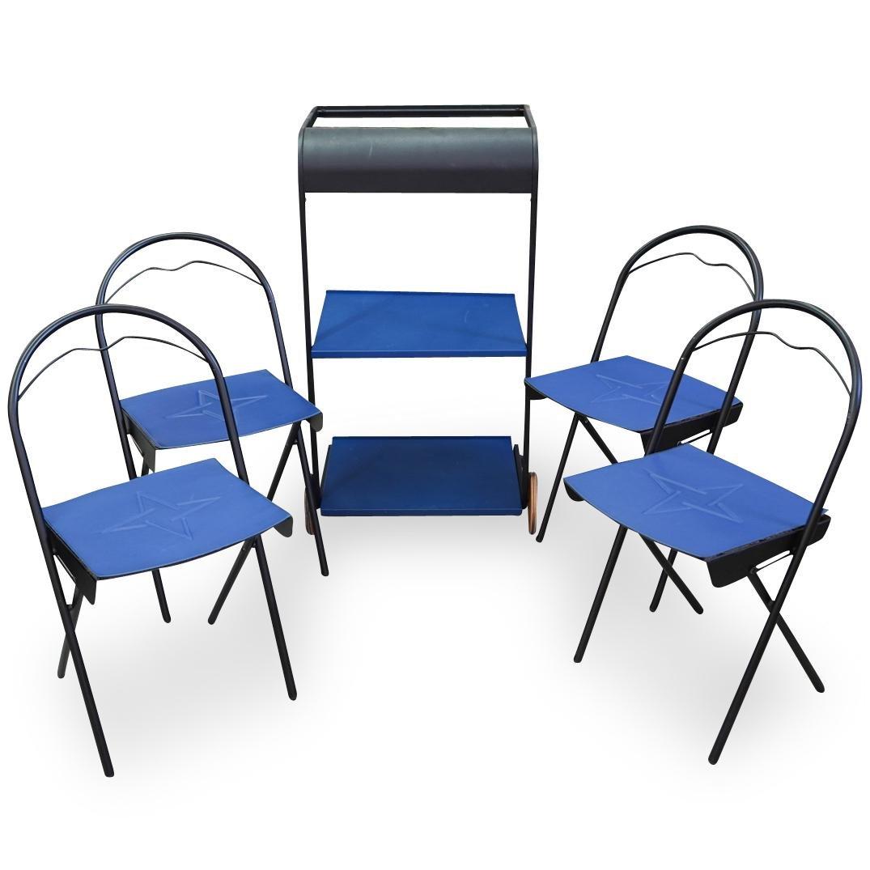 Italian Modern Rolling Folding Table & Chairs