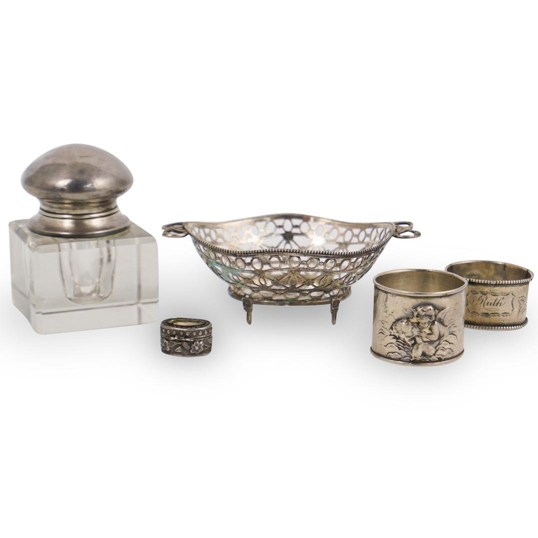 (5 Pc) English Sterling Silver Table Articles