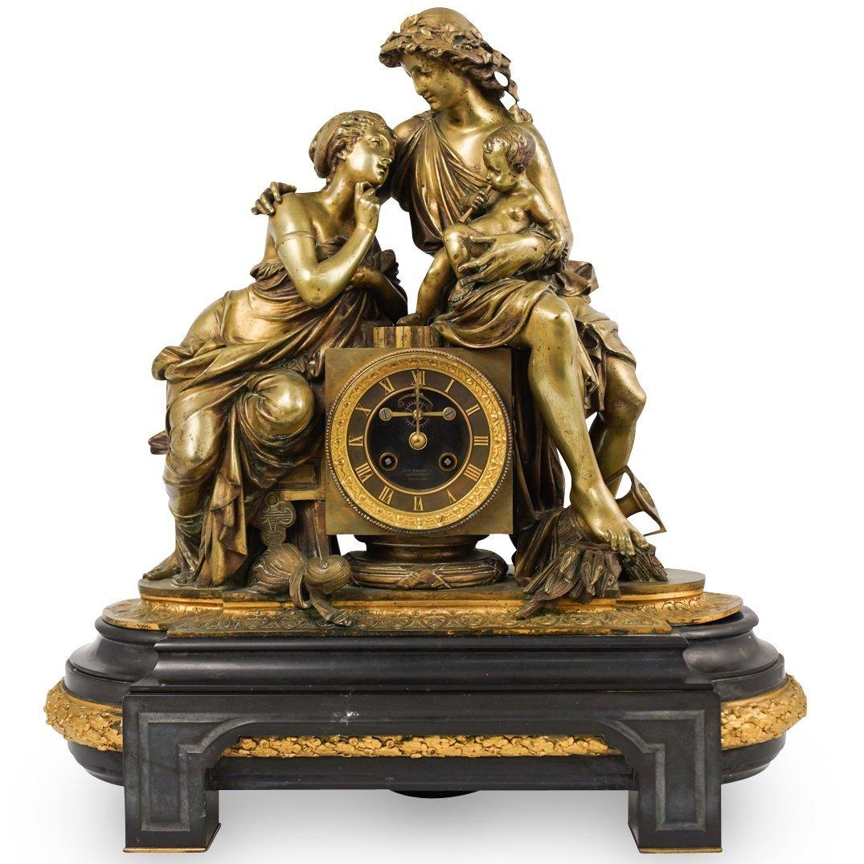 L. Marti Cie French Figural Mantle Clock