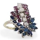 14k Gold Diamond Garnet and Sapphire Ring