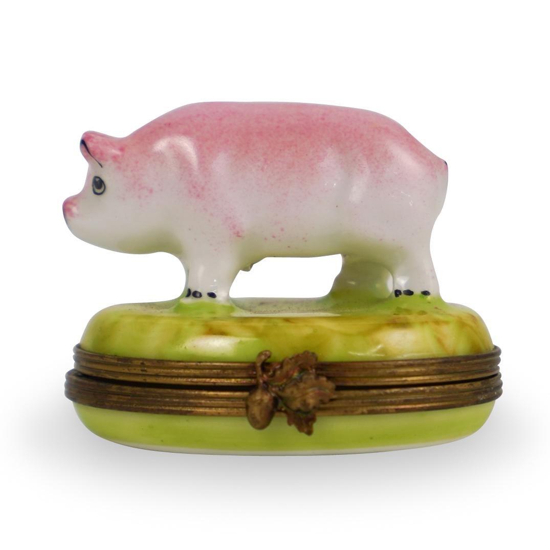 Limoges Peint Main Pig Trinket Box