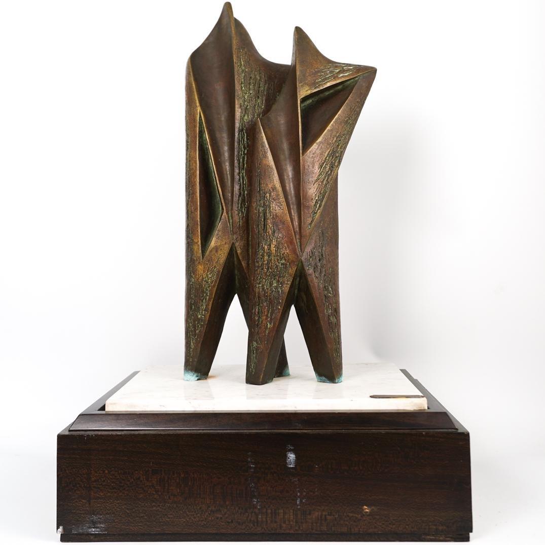 """Ferruccio Polacco Bronze """"Couples"""" Sculpture"""