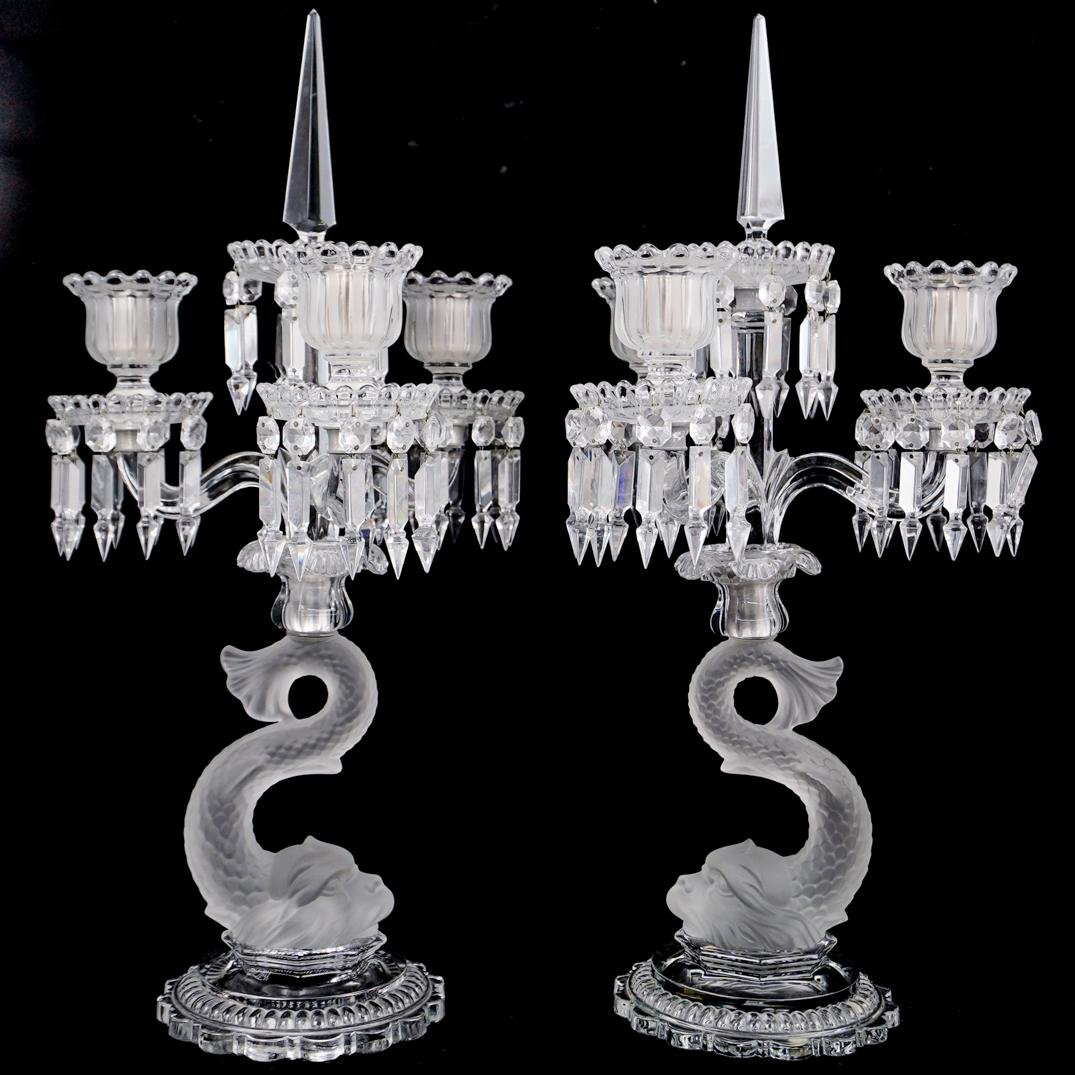 Pair Of Baccarat Crystal Dolphin Candelabras