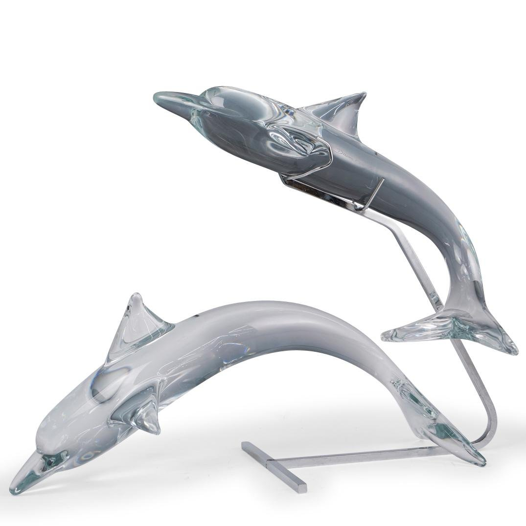 Daum Crystal Dolphin Sculpture