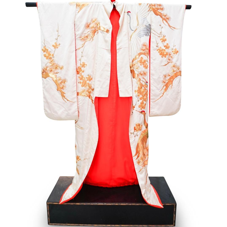 Japanese Wedding Kimono On Wooden Stand