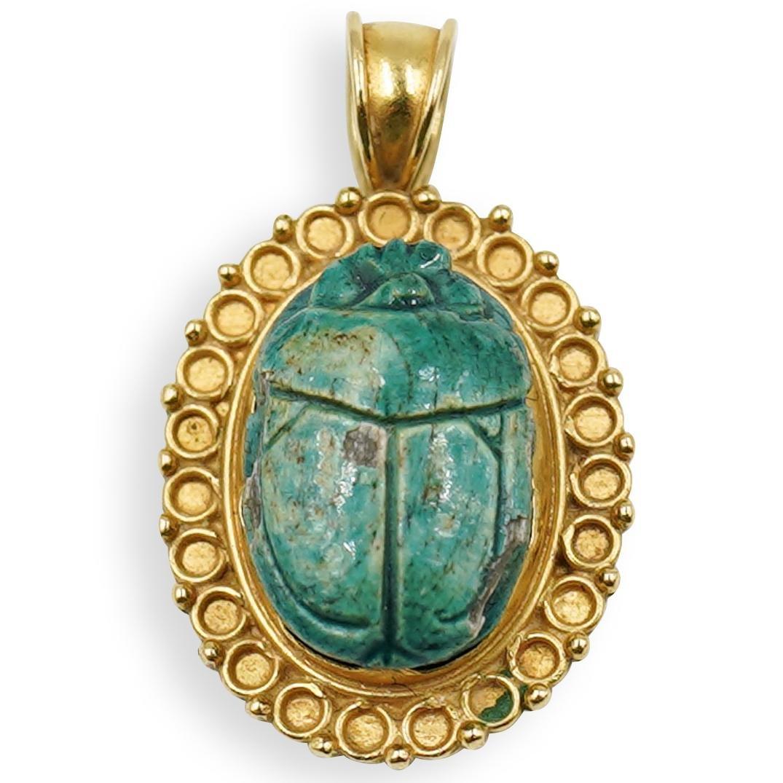Ancient Scarab 21k Gold Pendant