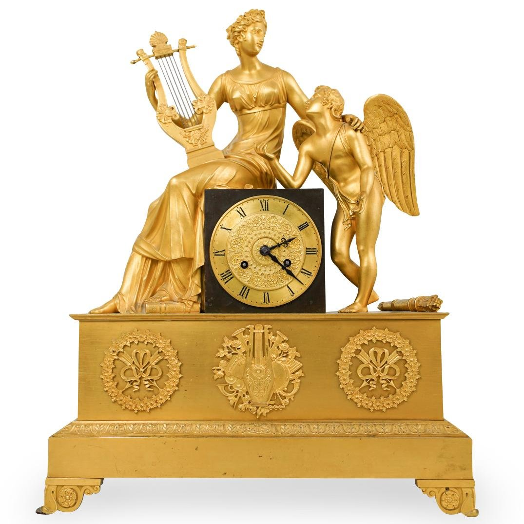 19th Cent. French Empire Gilt Bronze Mantel Clock