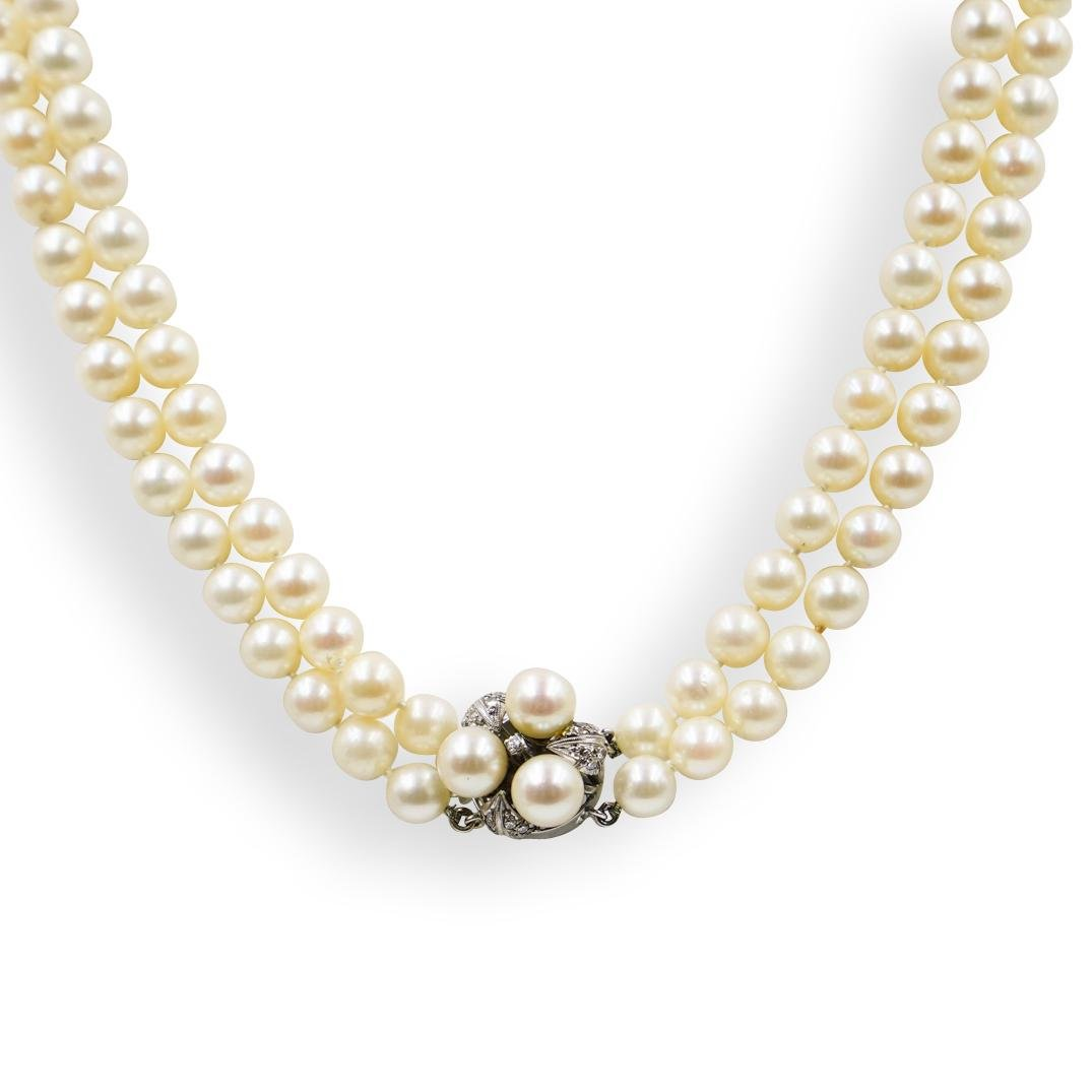 14k Gold, Diamond and Pearl Necklace
