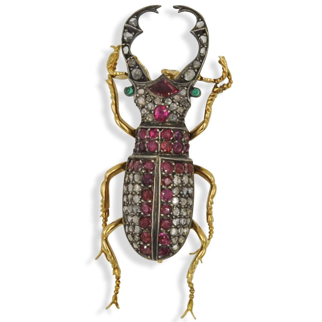 18k Gold, Diamond and Ruby Beetle Brooch
