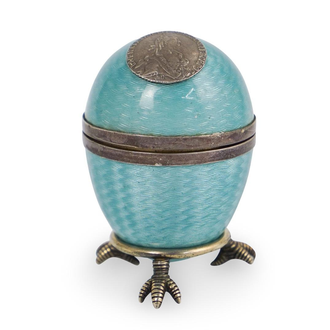 "Faberge ""Catherine The Great"" Silver Enamel Egg"