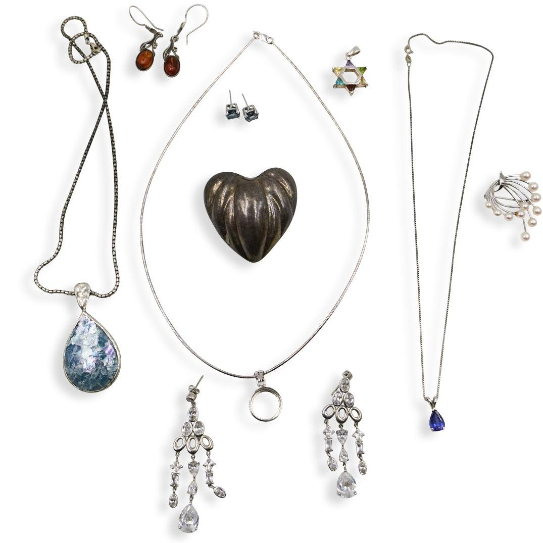 (11 Pc) Misc. Lot Of Sterling Silver Jewelry