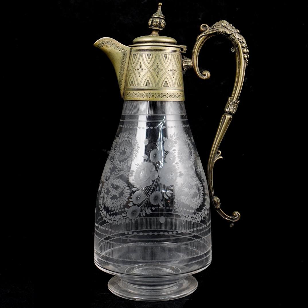Bronze Mounted Glass Pitcher