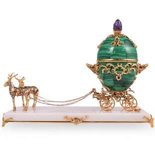 Faberge Malachite Reindeer Coach Egg