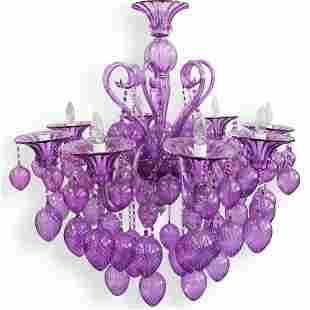 Murano Bella Vetro Purple Glass Chandelier