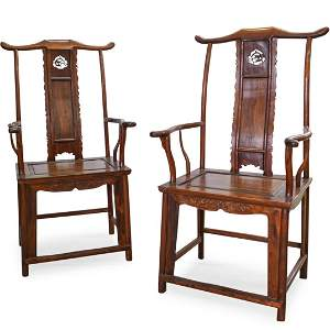 Pair Of Chinese Huanghuali Wood Arm Chairs
