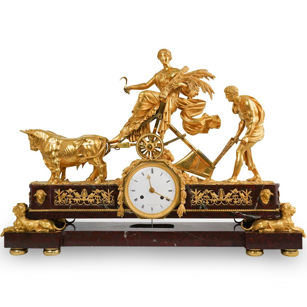 Rare 19th Ct. Gilt Bronze & Red Griotte Marble Mantle