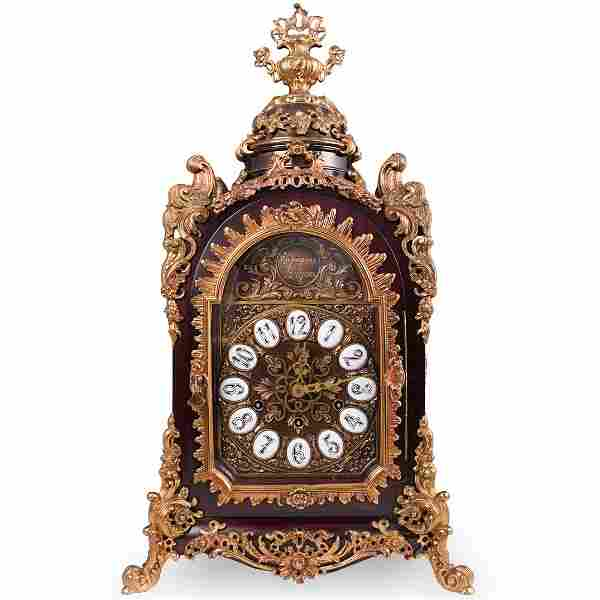 Gothic Revival Wood and Bronze Clock