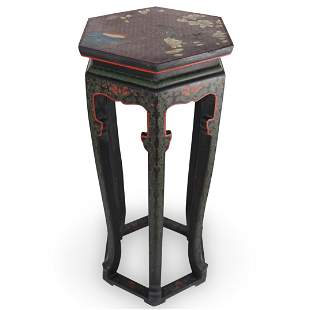 Chinese Lacquered Floral Pedestal