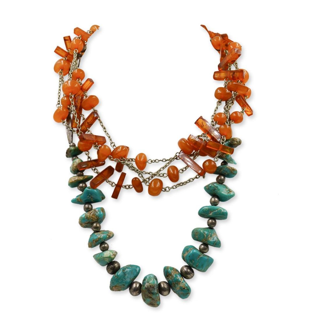 (2 Pc) Vintage Turquoise and Amber Necklaces