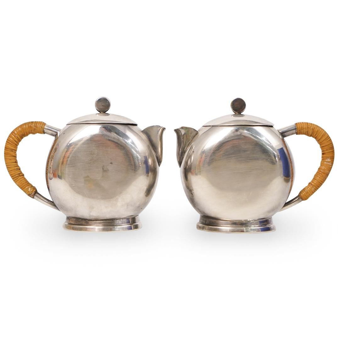 (2 Pc) Art Deco Newport Silver Plated Tea Pots