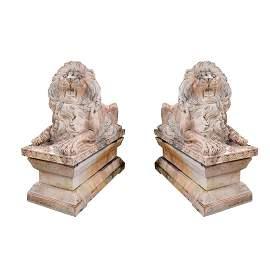 Pair of Monumental Italian Marble Recumbent Lions
