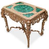 Imperial Style Malachite and Gilt Bronze Table