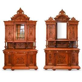 Pair Of Monumental Walnut Renaissance Style Buffets