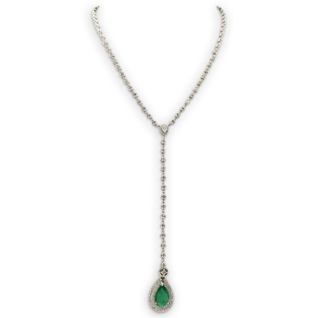 18k Gold, 4ct Emerald and Diamond Necklace