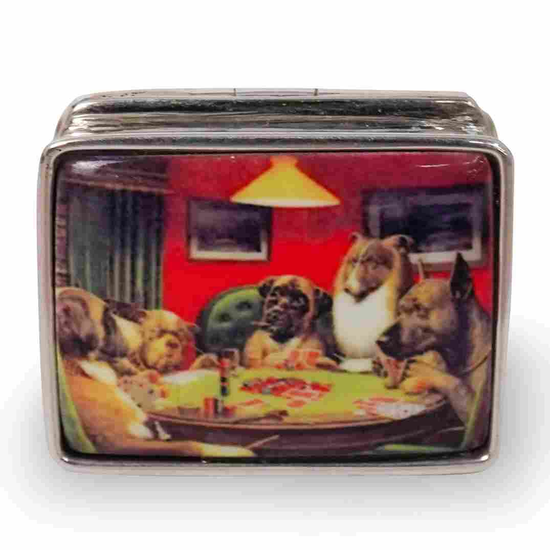 """Sterling Silver """"Dogs Playing Poker"""" Pill Box"""