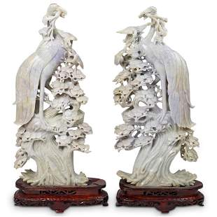 Large Vintage Chinese Jadeite Cranes