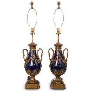 Pair of Porcelain & Dore Bronze Urn Table Lamps