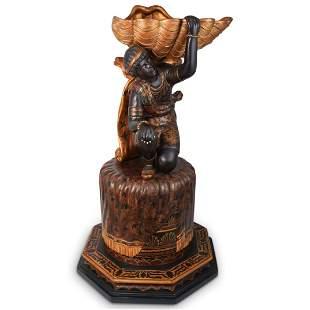 Antique Wooden Blackamoor Pedestal