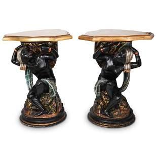 Antique Polychrome Blackamoor Pedestals
