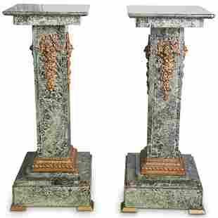 Dore Bronze & Green Marble Pedestals
