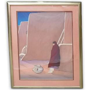 """R.C. Gorman (b.1931 American) """"Taos Women"""" Lithograph"""