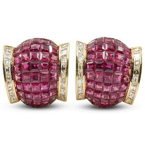 """Van Cleef Arpel Style """"Mystery Set"""" 18k & Ruby Earrings"""