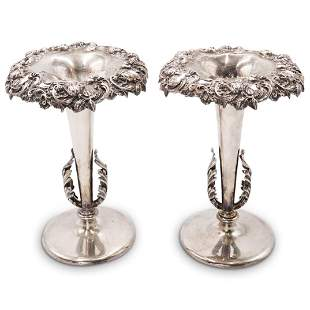 Antique Pair Of Sterling Silver Vases