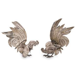 Pair of Silver Over Bronze Fighting Cocks