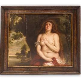 "Attrib. Sir Anthony Van Dyck ""Magdalen"" Oil Painting"