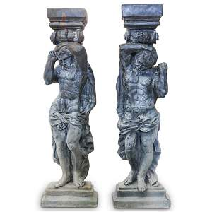 Pair of French Cast-Iron Figural Pilasters