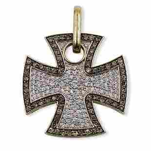 Chrome Hearts Style 14k Gold & Diamond Pendant