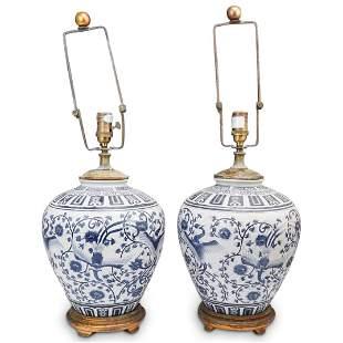 Vintage Ralph Lauren Blue & White Lamps
