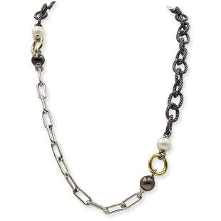 Designer Sterling, Gold and Pearl Chain Necklace