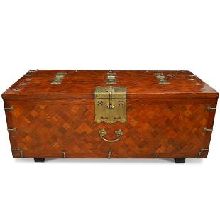 Vintage Marquetry Wooden Trunk