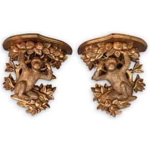 Antique Gilt Wood Monkey Brackets