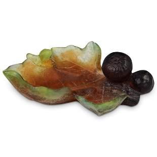 Daum Pate De Verre Fig Dish