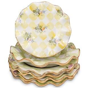 "( 6 Pcs) MacKenzie-Childs Ceramic ""Sweet Pea"" Plates"