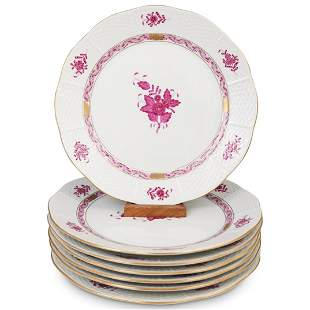 """(7 Pc) Herend """"Chinese Bouquet"""" Porcelain Plates"""
