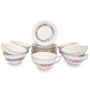 """(18 Pcs) Herend Porcelain """" Garland"""" Tea Cups & Saucers"""